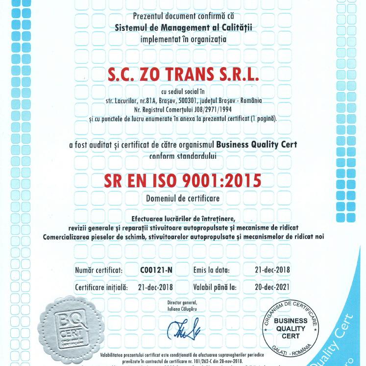 certificat zotrans